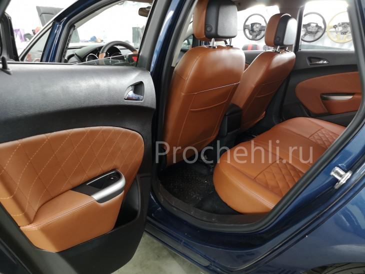 Каркасные чехлы для Opel Astra J из рыже-коричневой экокожи №6