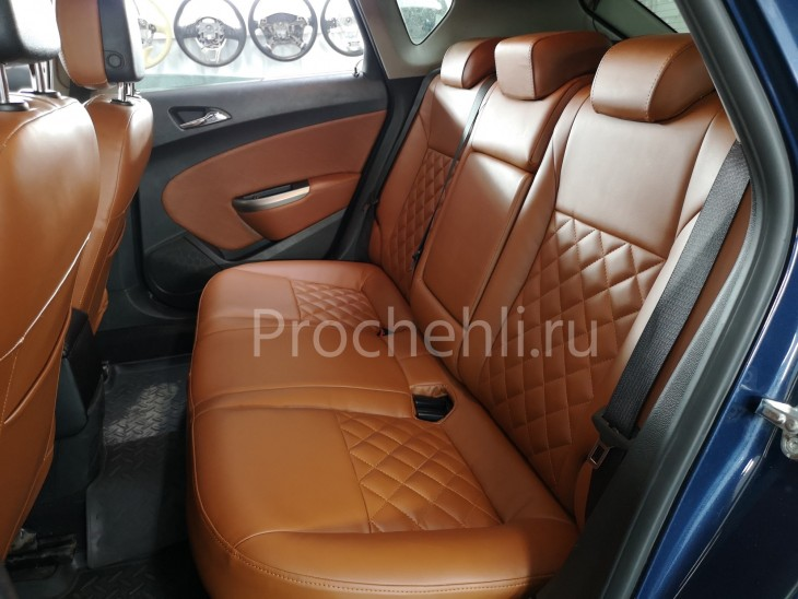 Каркасные чехлы для Opel Astra J из рыже-коричневой экокожи №5