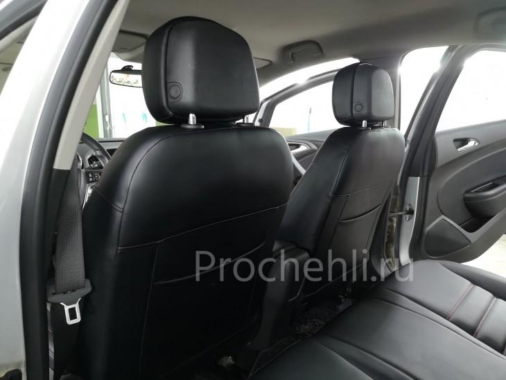 Каркасные чехлы для Opel Astra J из черной экокожи №10
