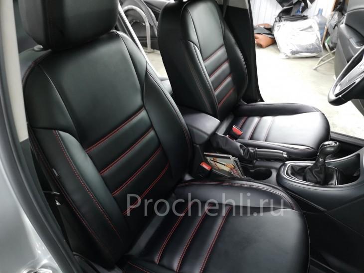 Каркасные чехлы для Opel Astra J из черной экокожи №9