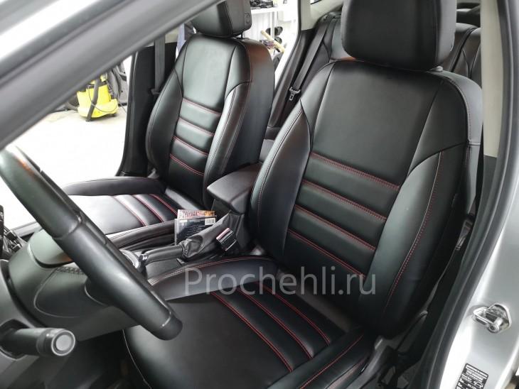 Каркасные чехлы для Opel Astra J из черной экокожи №8