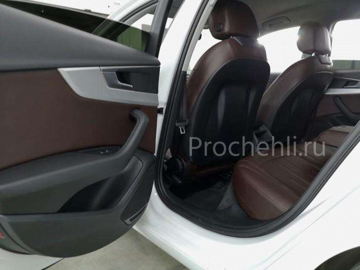 Каркасные авточехлы на Audi A4 B9 из коричневой экокожи №4
