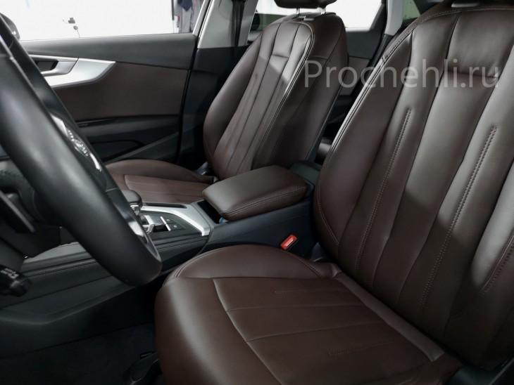 Каркасные авточехлы на Audi A4 B9 из коричневой экокожи №1
