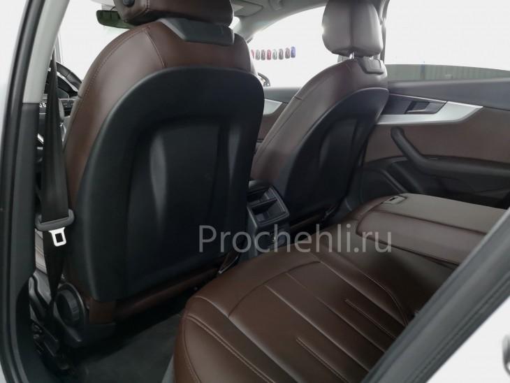 Каркасные авточехлы на Audi A4 B9 из коричневой экокожи №3