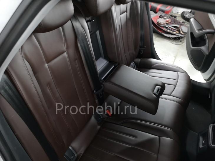Каркасные авточехлы на Audi A4 B9 из коричневой экокожи №6