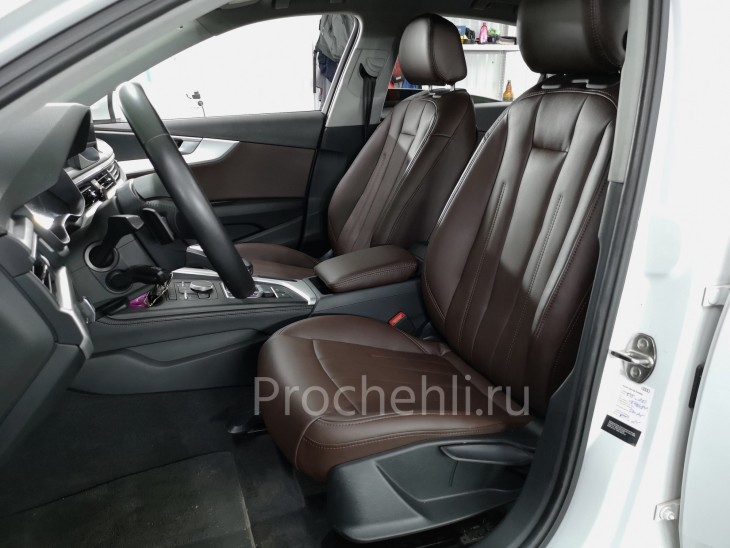 Каркасные авточехлы на Audi A4 B9 из коричневой экокожи №8