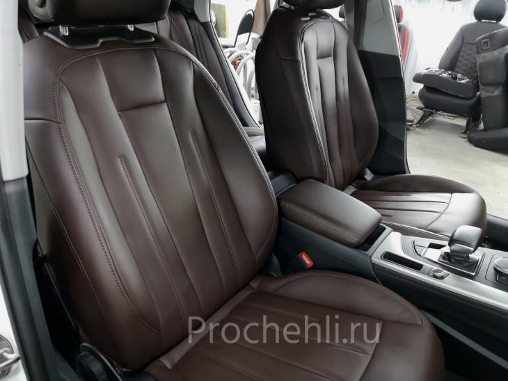 Каркасные авточехлы на Audi A4 B9 из коричневой экокожи №2