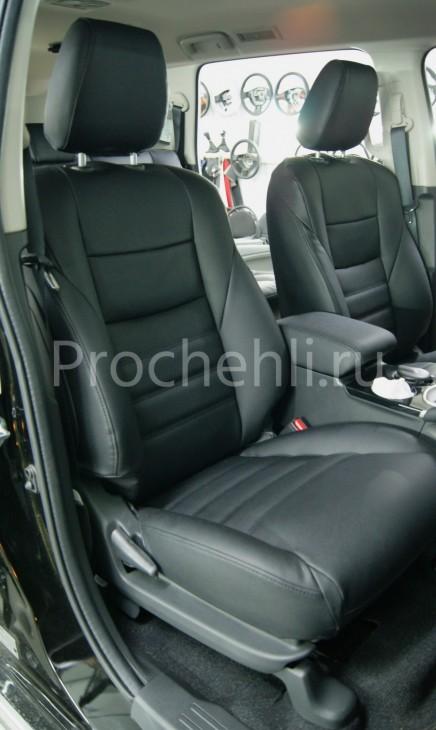 Каркасные чехлы для Mitsubishi Pajero Sport 3 из черной экокожи №1