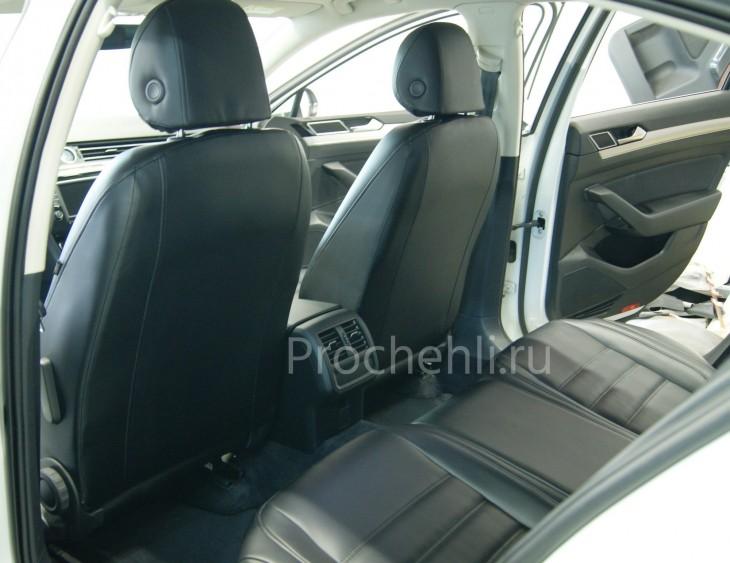 Каркасные авточехлы  для VW Passat B8 из черной экокожи №7