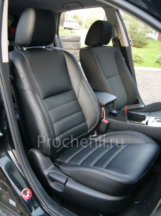 Каркасные чехлы для Mazda 3 (BL) из черной экокожи №3