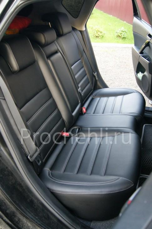 Каркасные чехлы для Mazda 3 (BL) из черной экокожи №9