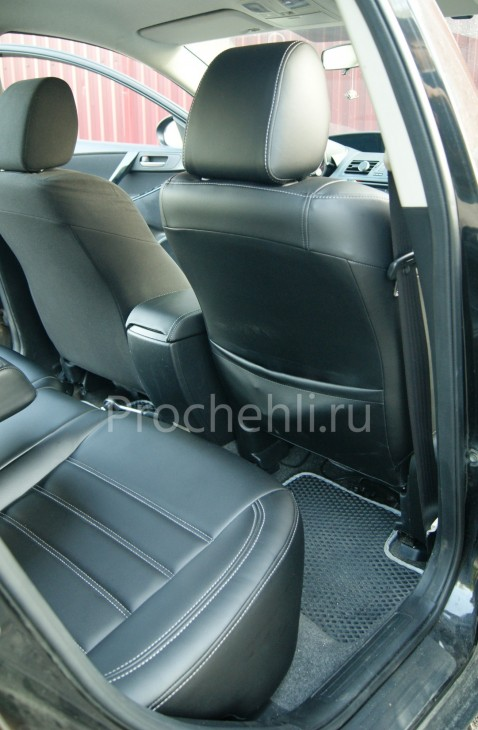 Каркасные чехлы для Mazda 3 (BL) из черной экокожи №10