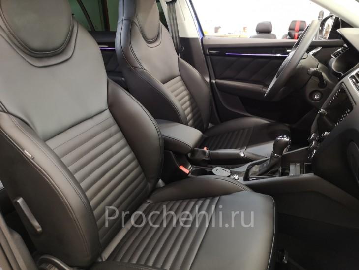 Каркасные чехлы для Skoda Octavia A7 sport салон из экокожи наппа №1