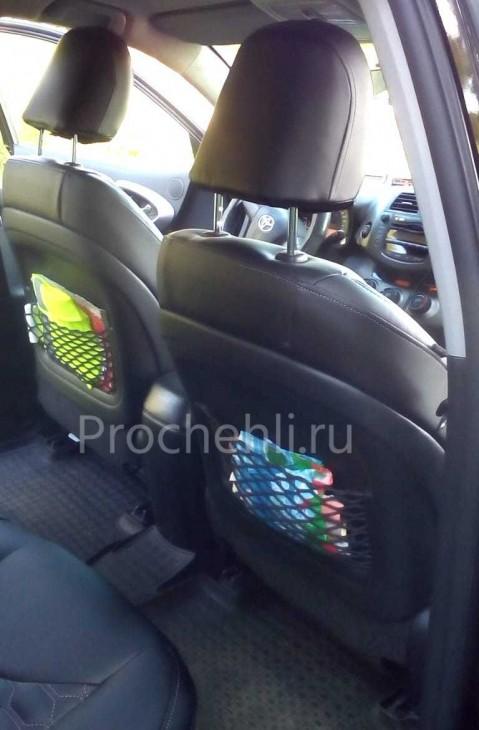 Каркасные авточехлы на Toyota RAV 4 (XA30) из черной экокожи с отстрочкой сотами №3