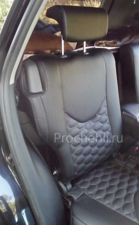Каркасные авточехлы на Toyota RAV 4 (XA30) из черной экокожи с отстрочкой сотами №7