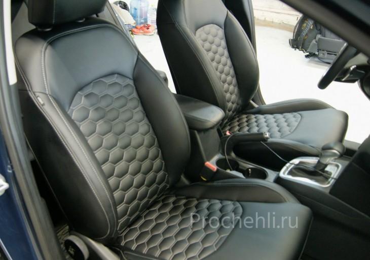 Каркасные чехлы для Kia Ceed 3 из черной экокожи с отстрочкой сотами №1