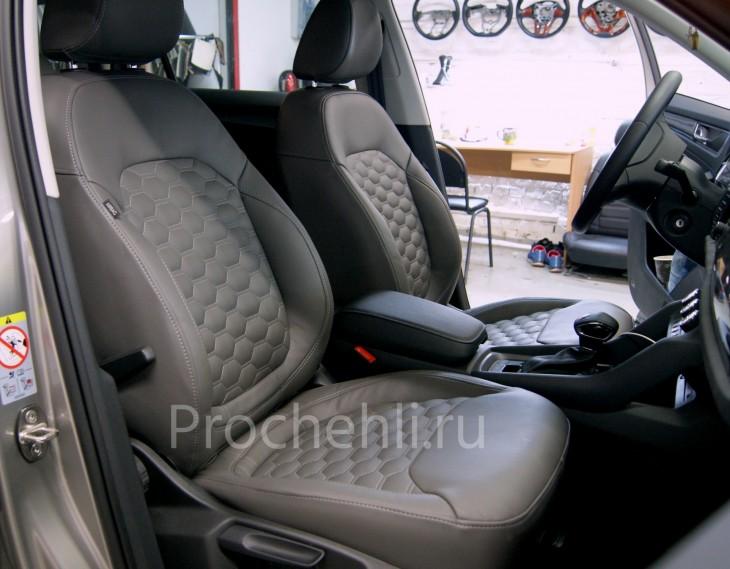 Каркасные авточехлы для Skoda Kodiaq (Шкода Кодиак) из серой экокожи с отстрочкой сотами №5