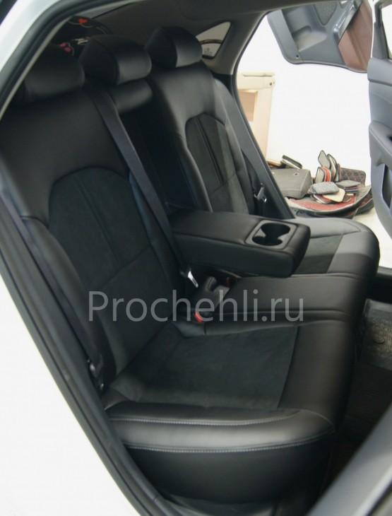 Каркасные авточехлы для Kia Cerato 4 из черной экокожи с алькантарой №1