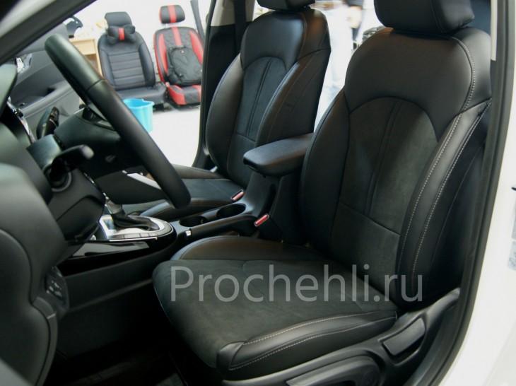 Каркасные авточехлы для Kia Cerato 4 из черной экокожи с алькантарой №4
