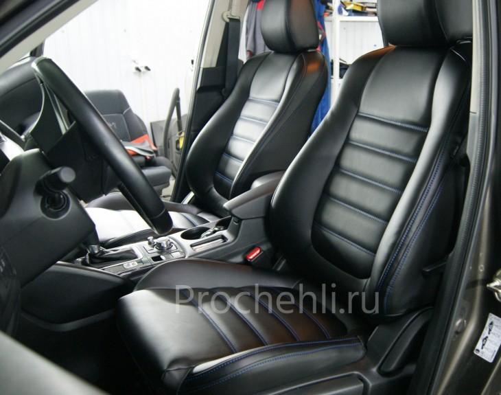 Каркасные чехлы на Mazda CX-5 из черной экокожи №4
