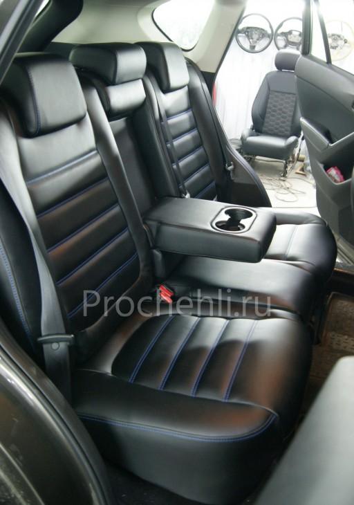 Каркасные чехлы на Mazda CX-5 из черной экокожи №7