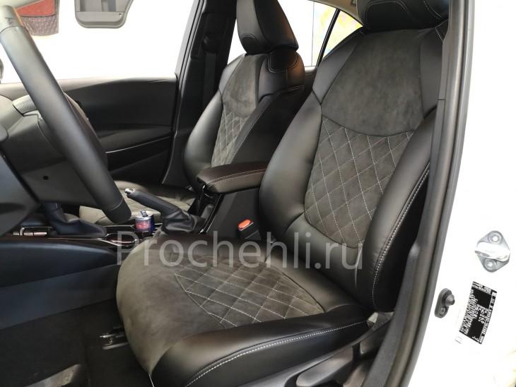 Каркасные чехлы на Toyota Corolla E210 (2019) из черной экокожи и алькантары №4