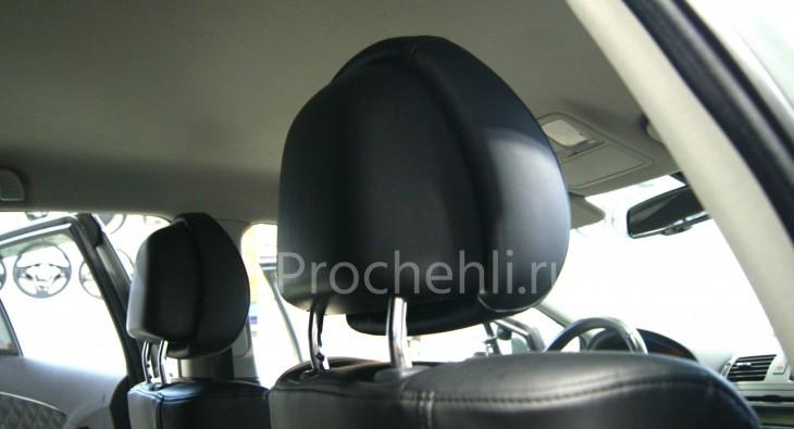 Каркасные авточехлы для Toyota Avensis 3 из черной экокожи с двойным ромбом №4