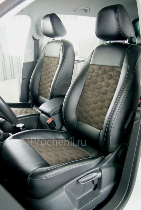 Каркасные чехлы на VW Tiguan из черной экокожи и алькантары №2