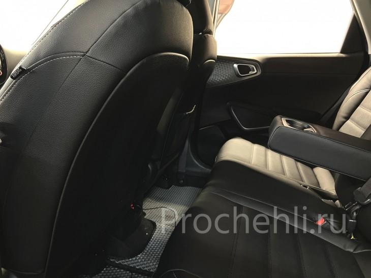 Каркасные авточехлы для Kia Soul 3 из черной экокожи №11