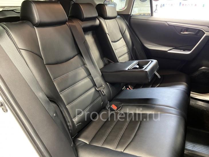 Каркасные чехлы на Toyota Rav 4 (XA50) из черной экокожи на основе микрофибры №14