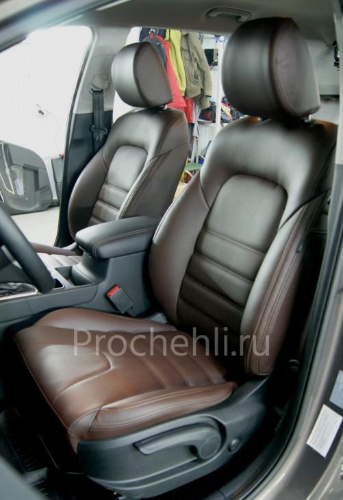 Каркасные чехлы на Kia Sportage 4 из темно-коричневой экокожи №1