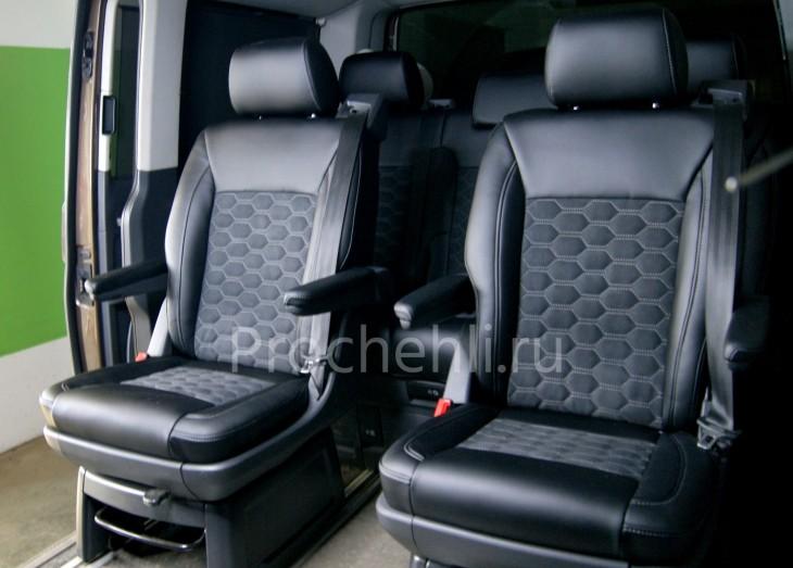 Каркасные авточехлы для VW Multivan T5 из черной экокожи и алькантары №1