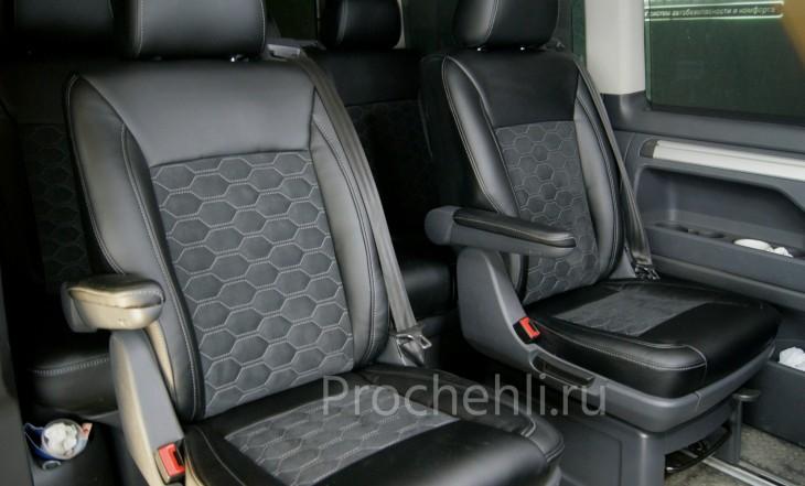 Каркасные авточехлы для VW Multivan T5 из черной экокожи и алькантары №4