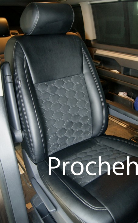 Каркасные авточехлы для VW Multivan T5 из черной экокожи и алькантары №2