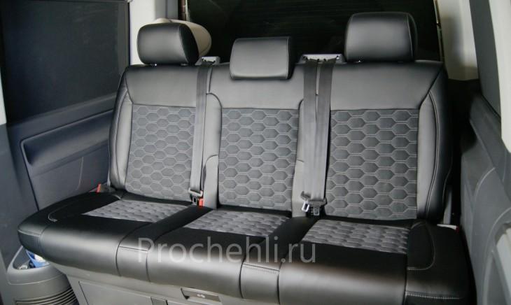Каркасные авточехлы для VW Multivan T5 из черной экокожи и алькантары №5