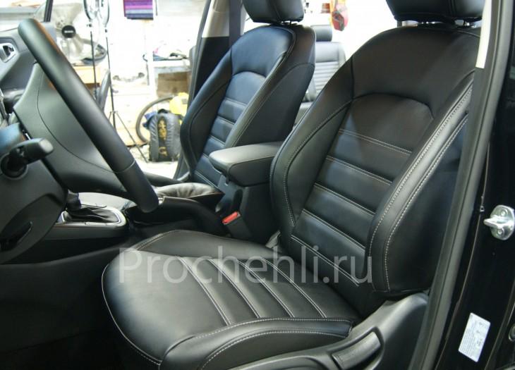 Каркасные авточехлы на Kia Soul 3 из черной экокожи №1