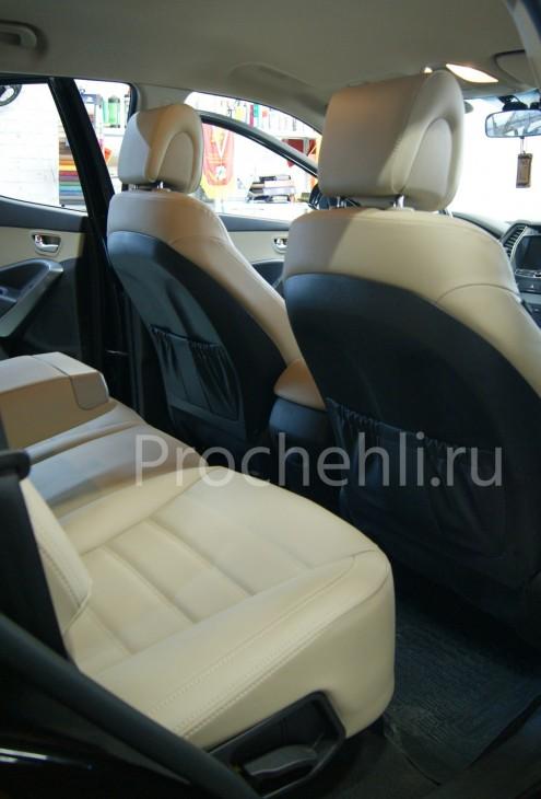 Каркасные чехлы на Hyundai Sante Fe 3 из бежевой экокожи №4