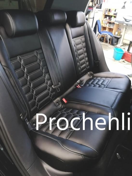 Каркасные чехлы на VW Golf 7 из черной экокожи №2