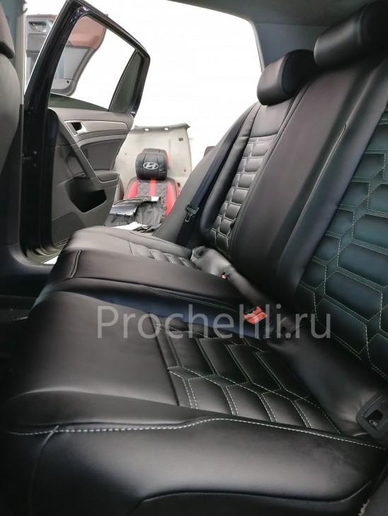 Каркасные чехлы на VW Golf 7 из черной экокожи №5