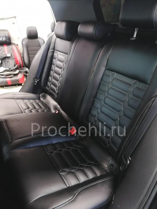 Каркасные чехлы на VW Golf 7 из черной экокожи №6