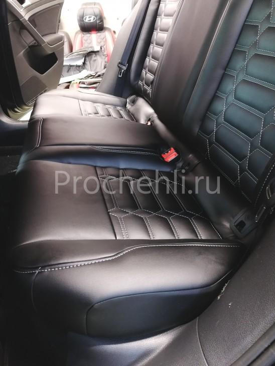 Каркасные чехлы на VW Golf 7 из черной экокожи №7