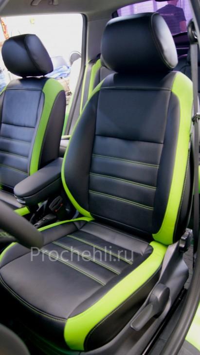 Каркасные авточехлы для Skoda Fabia из черной зеленой экокожи №5
