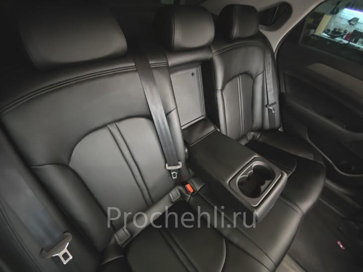 Чехлы для Hyundai Sonata 7 с эффектом перетяжки салона из черной экокожи №2