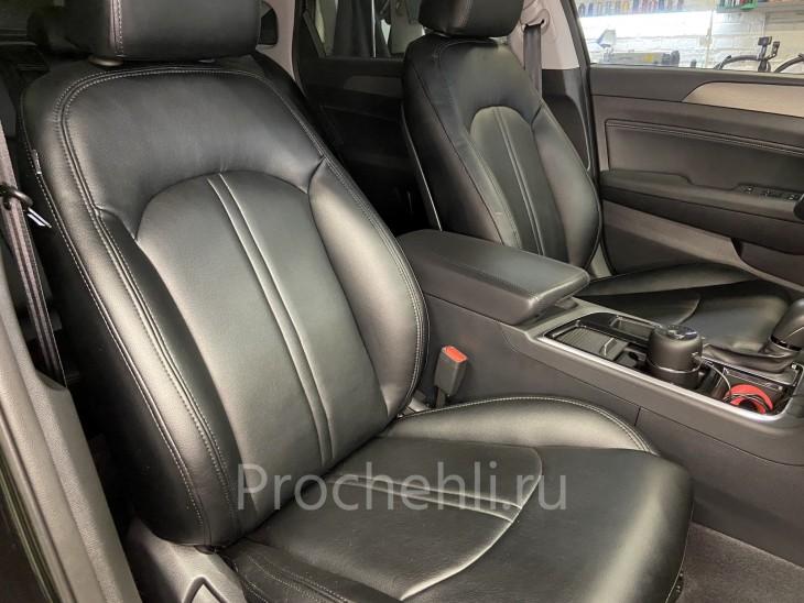 Чехлы для Hyundai Sonata 7 с эффектом перетяжки салона из черной экокожи №7
