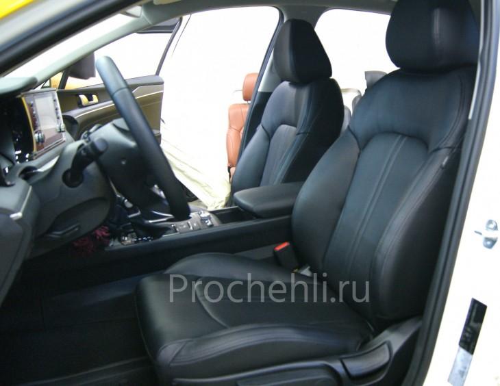 Каркасные чехлы для Kia K5 из черной экокожи №2