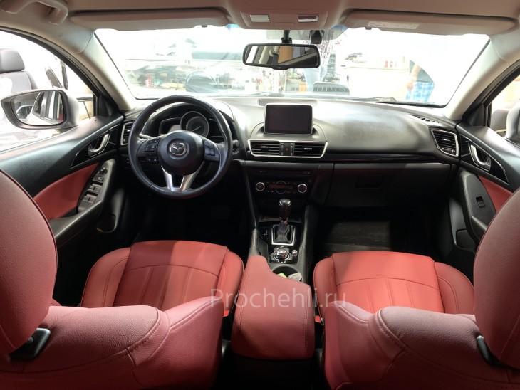 Каркасные чехлы для Mazda 3 (BM) из красной экокожи №6