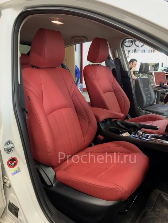 Каркасные чехлы для Mazda 3 (BM) из красной экокожи №2
