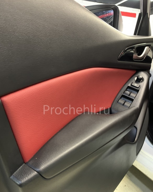 Каркасные чехлы для Mazda 3 (BM) из красной экокожи №8
