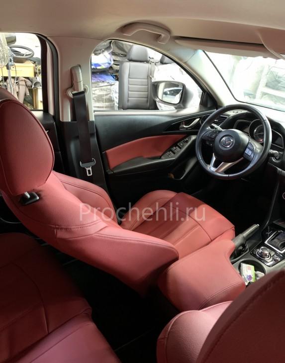 Каркасные чехлы для Mazda 3 (BM) из красной экокожи №9