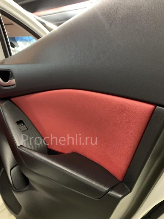 Каркасные чехлы для Mazda 3 (BM) из красной экокожи №10